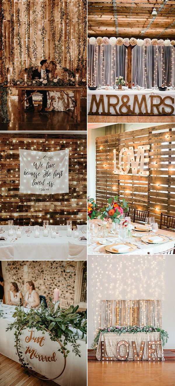 wedding head table backdrop ideas with string lights