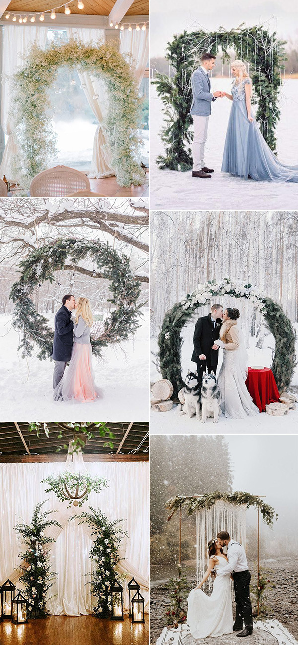 whimsical winter wedding arches and backdrops