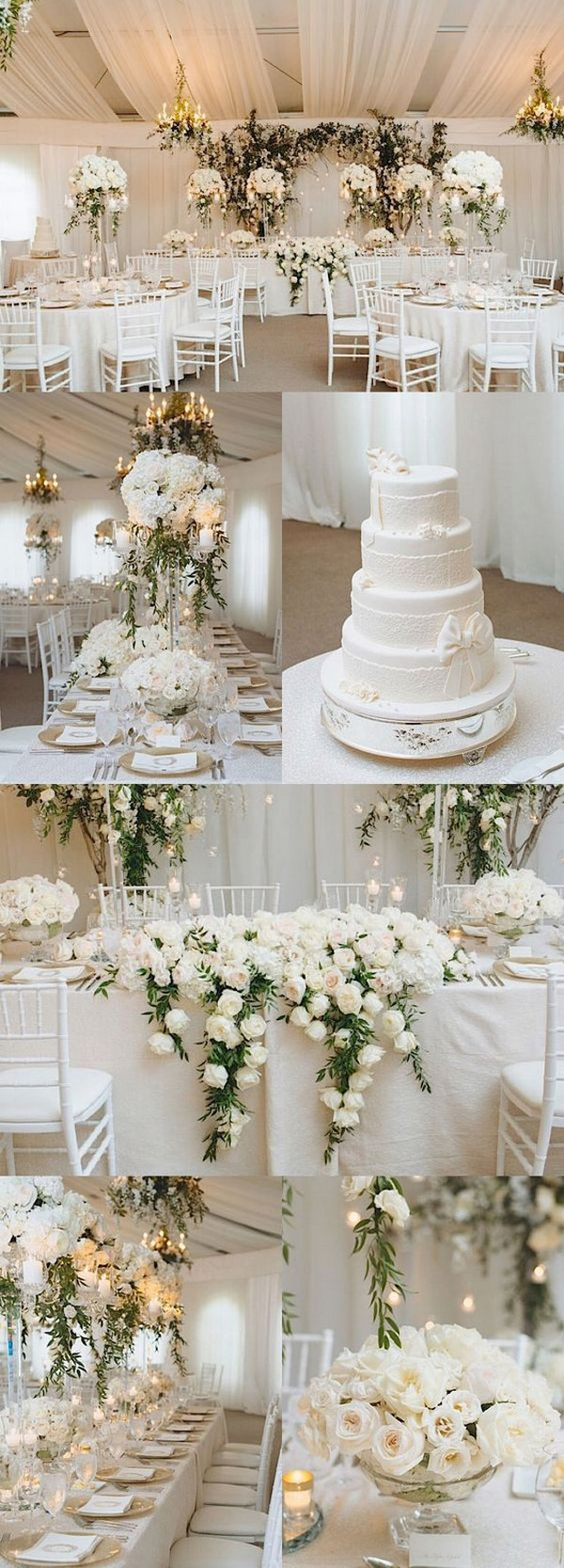 white elegant and classic wedding reception ideas