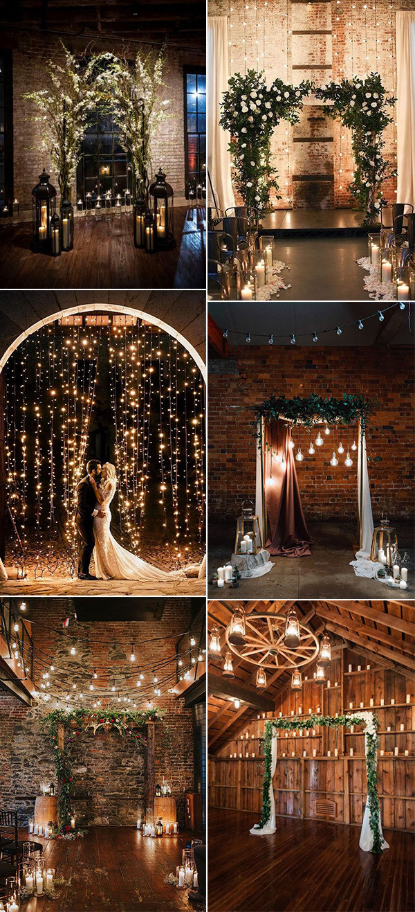winter wedding arches and backdrops with lights