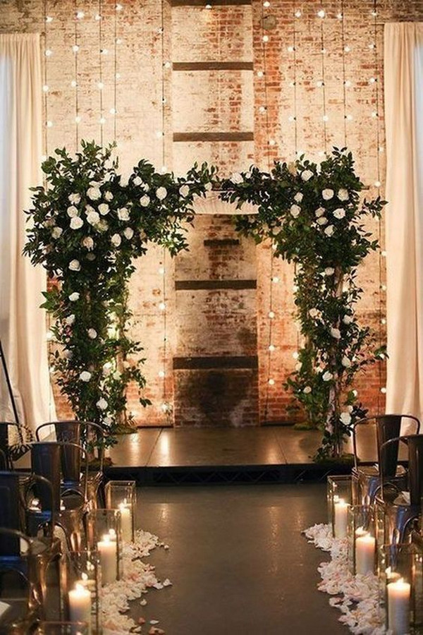 winter wedding backdrop ideas with lights