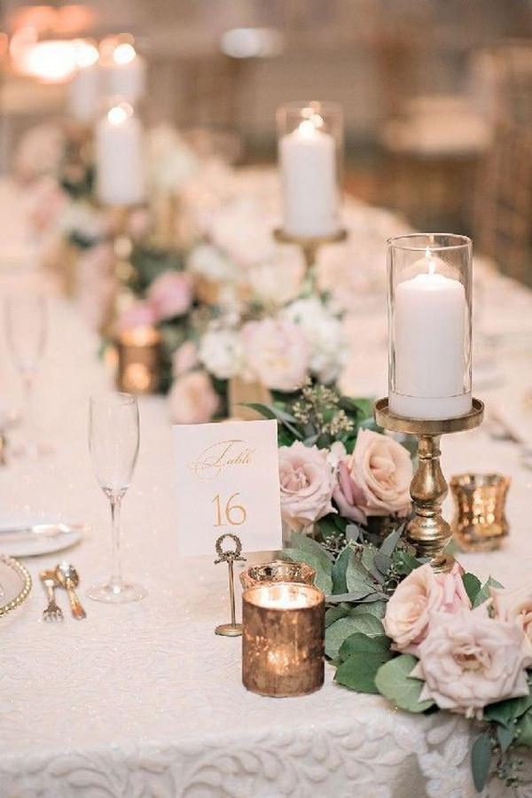 blush gold and greenery vintage wedding centerpiece ideas