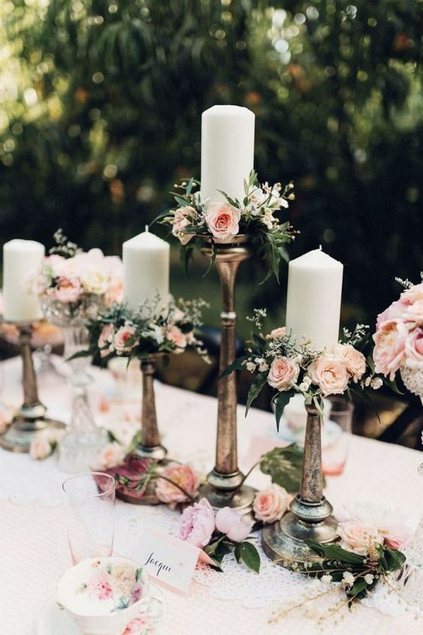 candlesticks vintage wedding centerpeice ideas