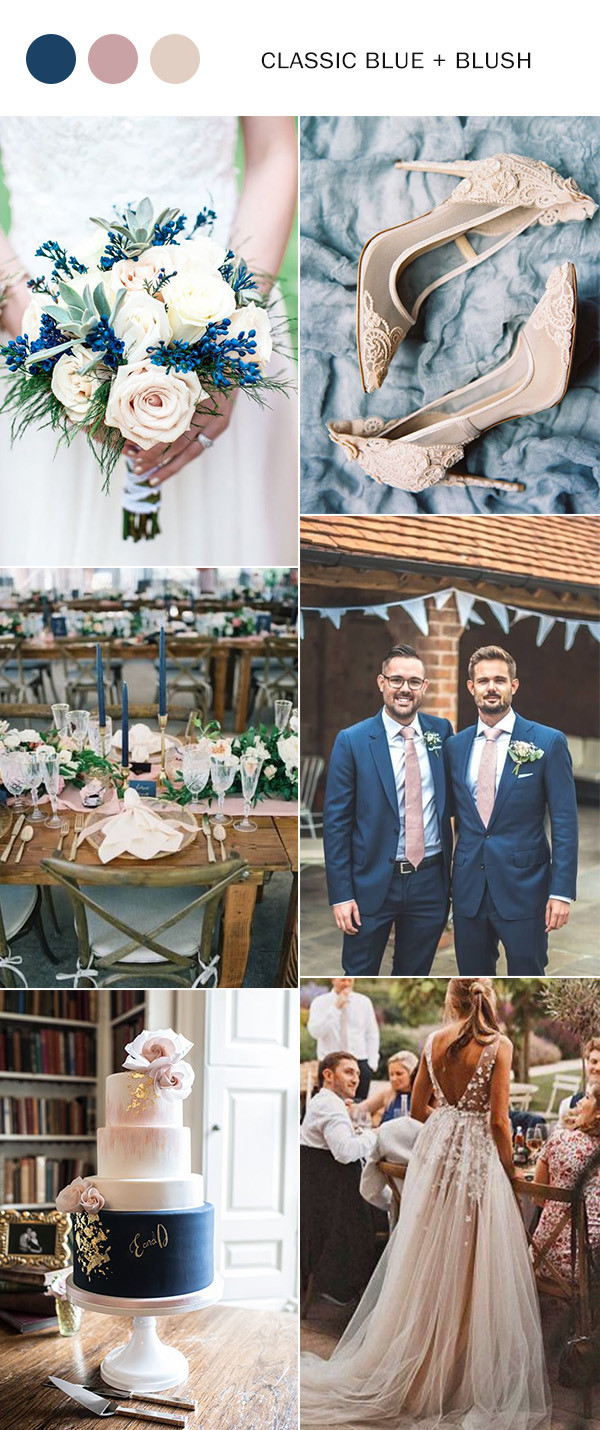 classic blue and blush wedding color ideas