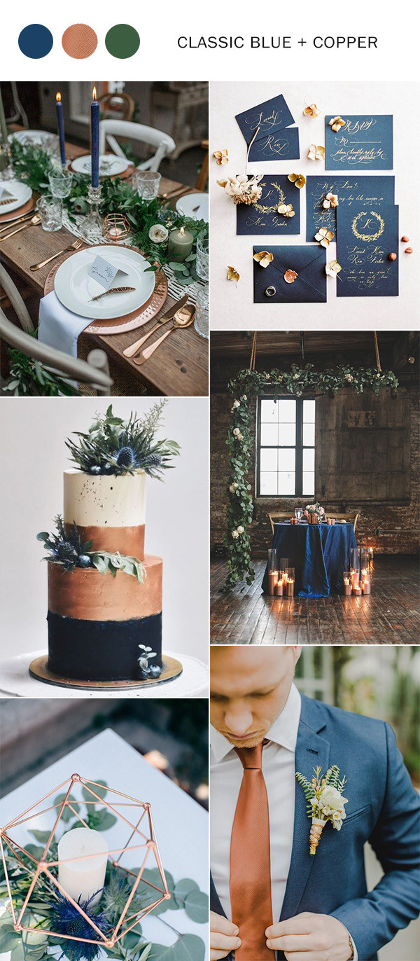 classic blue and copper wedding color ideas for 2020