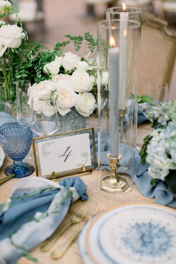 dusty blue and gold vintage wedding centerpiece
