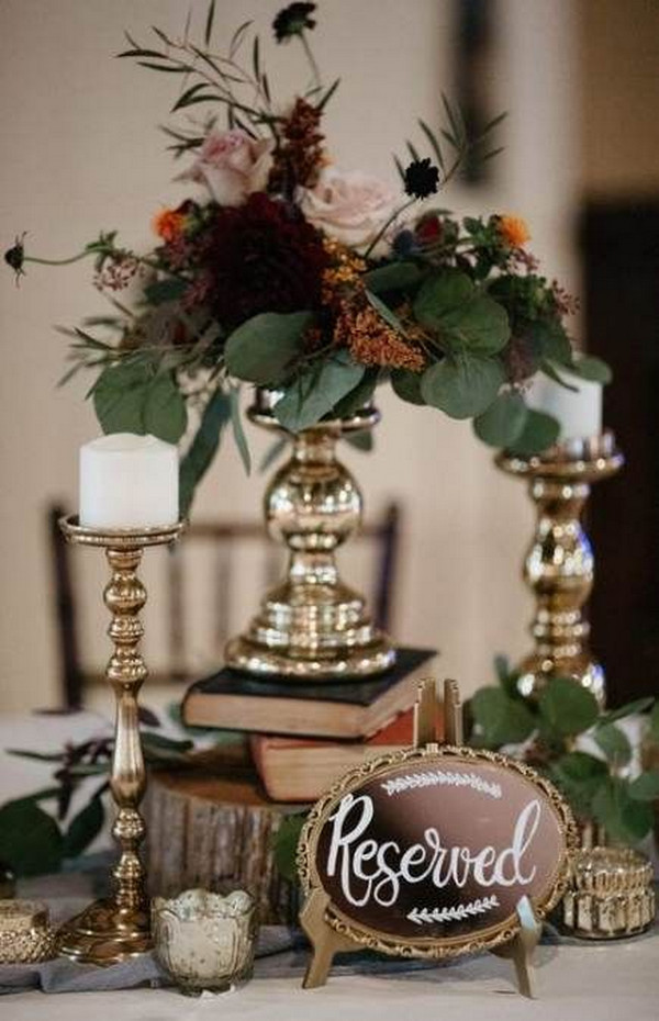 gold and burgundy vintage wedding centerpiece