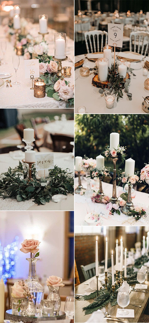 romantic vintage wedding centerpiece ideas with candles