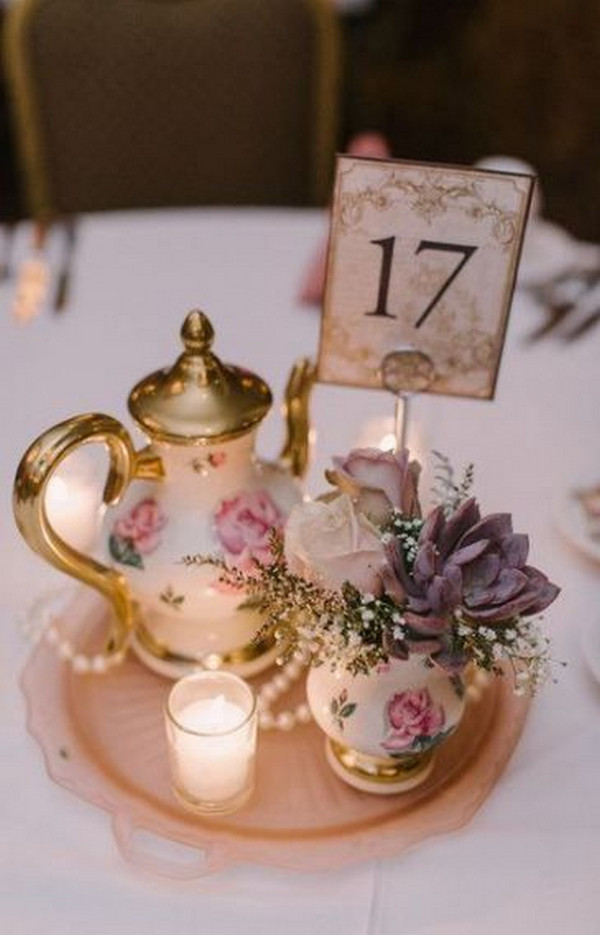 tea party themed vintage wedding centerpiece