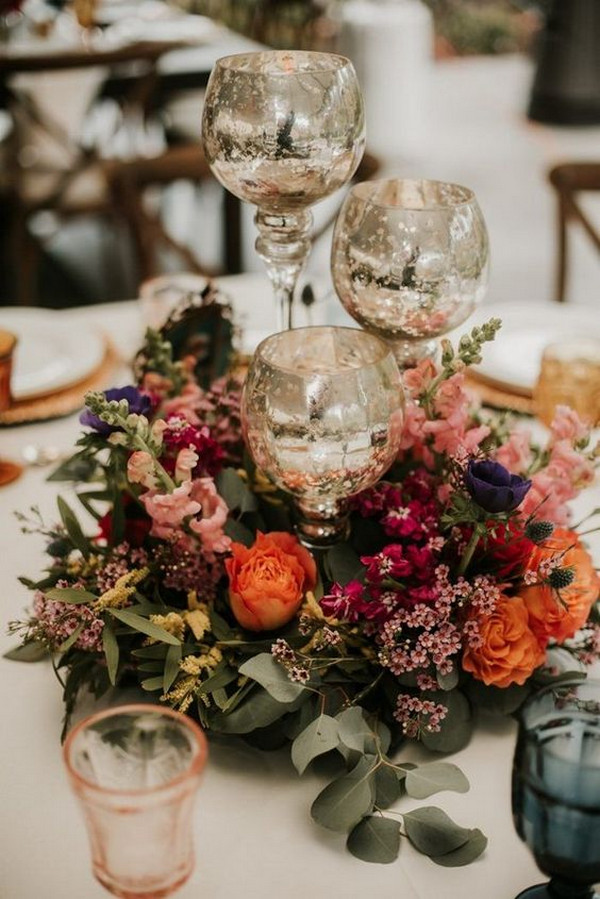 vintage fall colors wedding centerpiece ideas