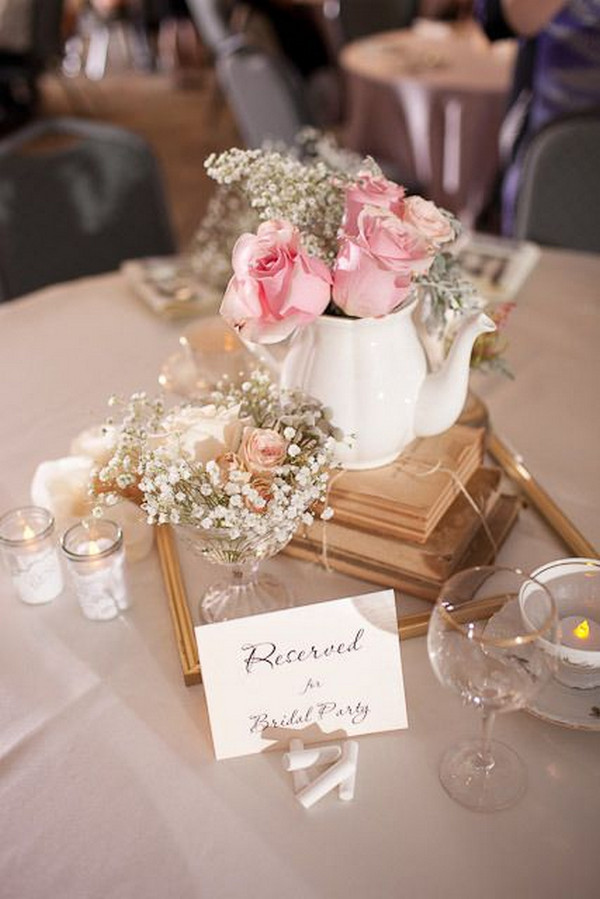 vintage wedding centerpiece ideas with baby's breath