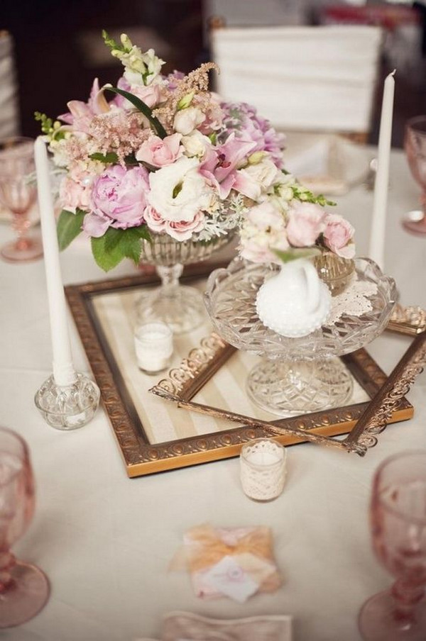 vintage wedding centerpiece ideas with frames and candles