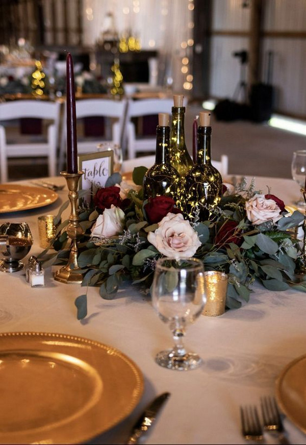 vintage winery themed wedding centerpiece ideas