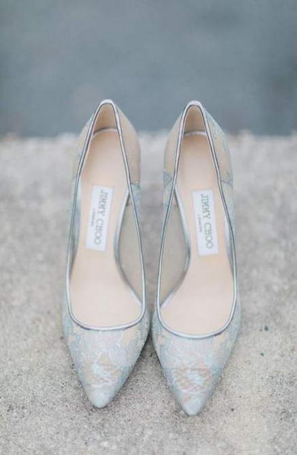 Jimmy Choo light blue lace wedding shoes