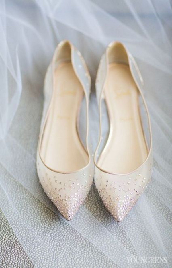 beaded nude wedding flats