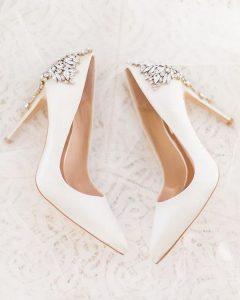 classic white wedding heels