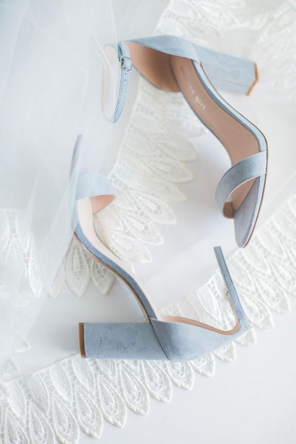 dusty blue suede bridal shoes