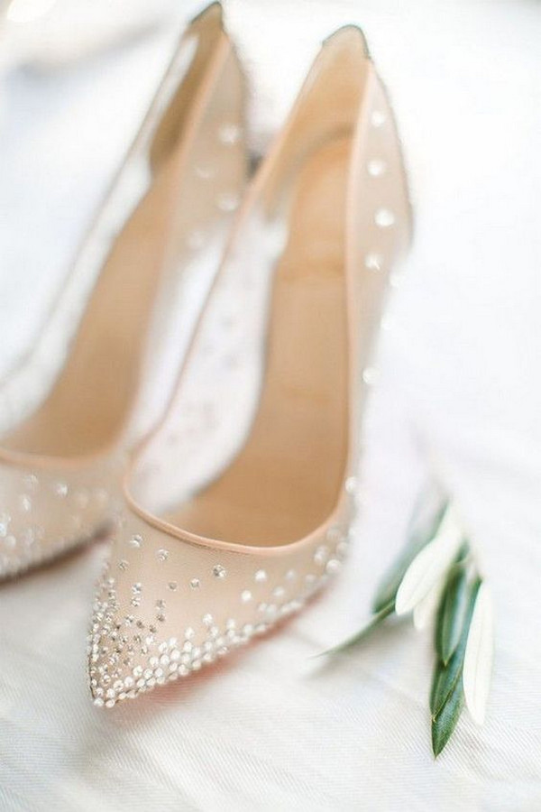 elegant neutral beaded wedding shoes