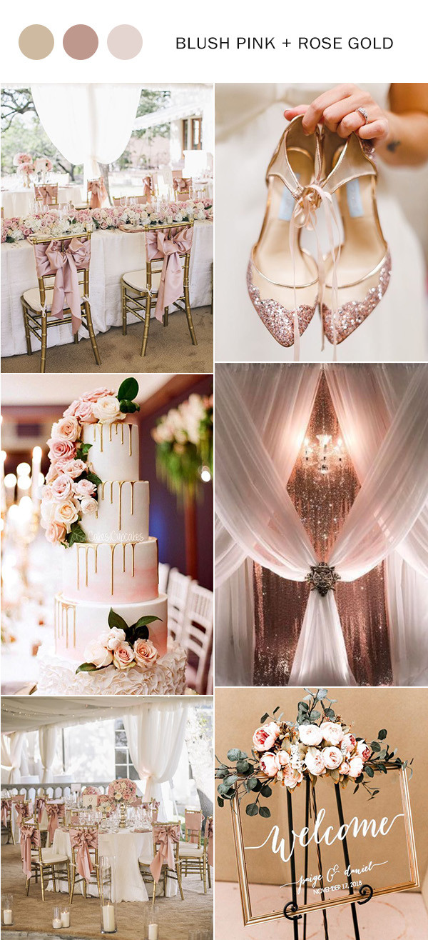 elegant rose gold and blush pink wedding color ideas 2020