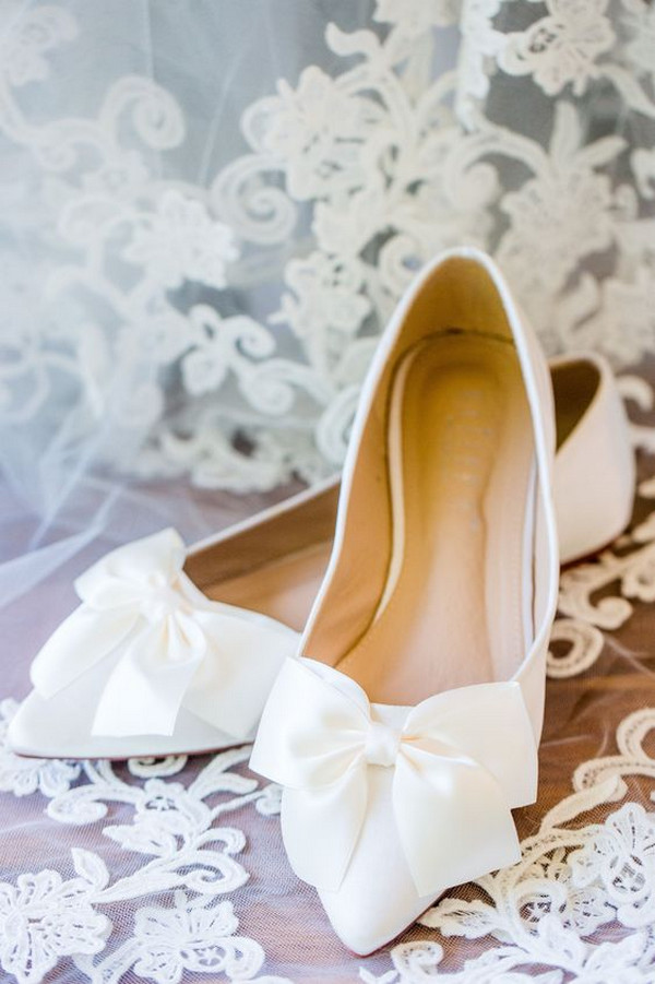 elegant white wedding flats