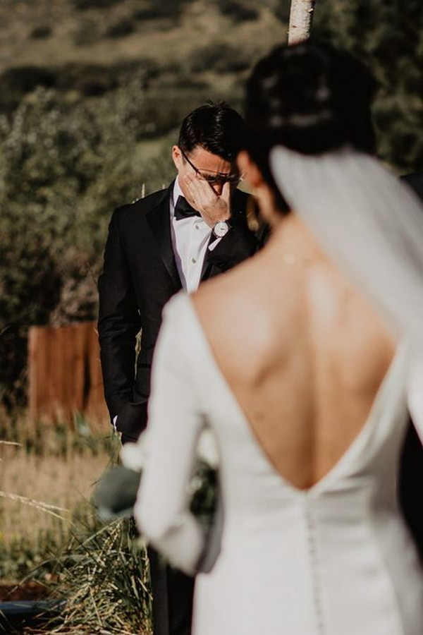 first look bride and groom wedding photography