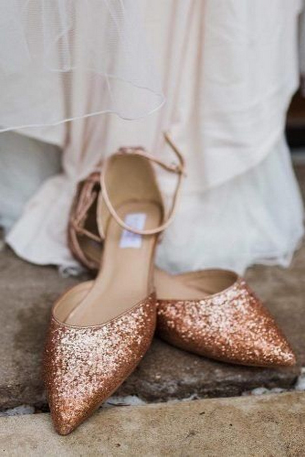 glitter rose gold wedding flat shoes
