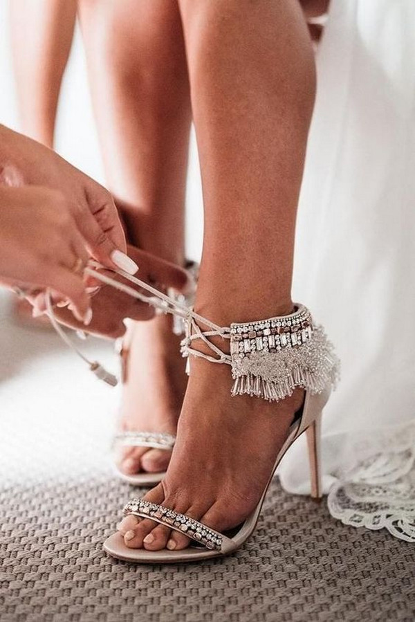 neutral boho wedding shoes