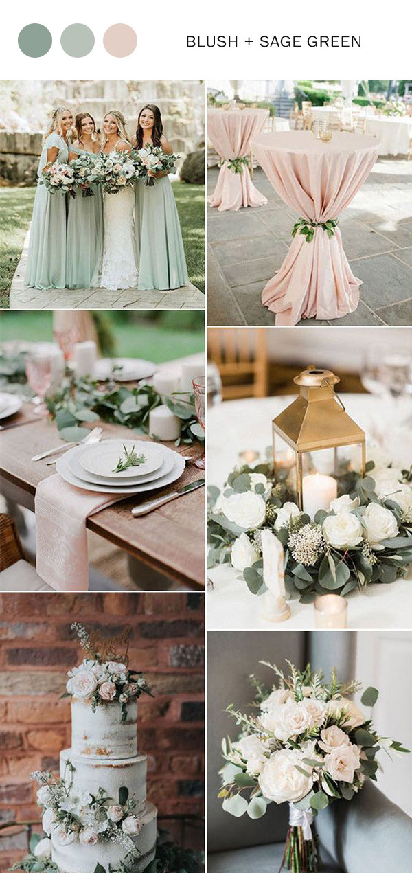 sage green and blush pink wedding color ideas for spring summer 2020