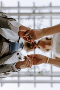 show off the ring bride and groom wedding photography