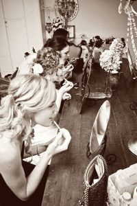getting ready wedding photo ideas with bridesmaids