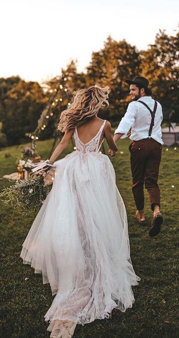 Flowy A-line V-neck Boho Wedding Dress