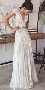 beach boho long lace wedding dress