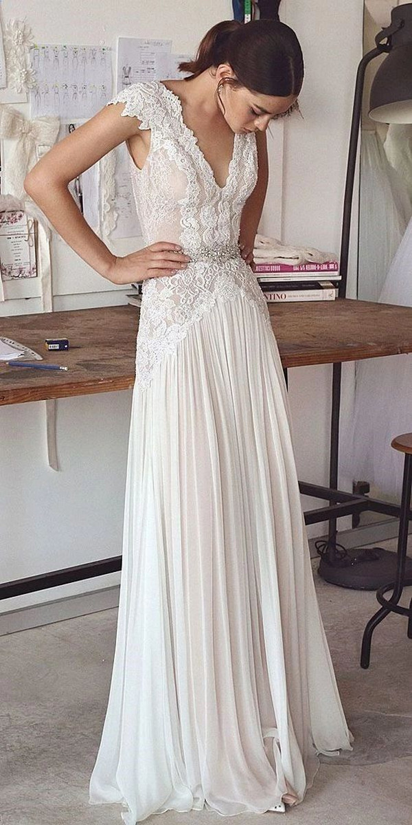 beach boho long lace wedding dress