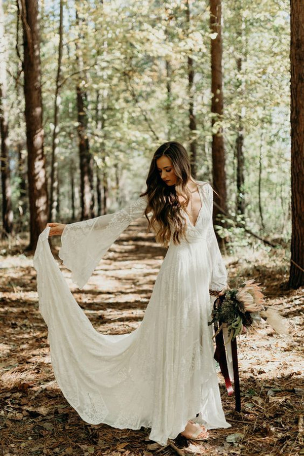 boho chic country wedding dress