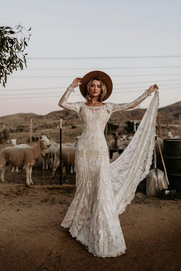 boho chic lace wedding dress ideas