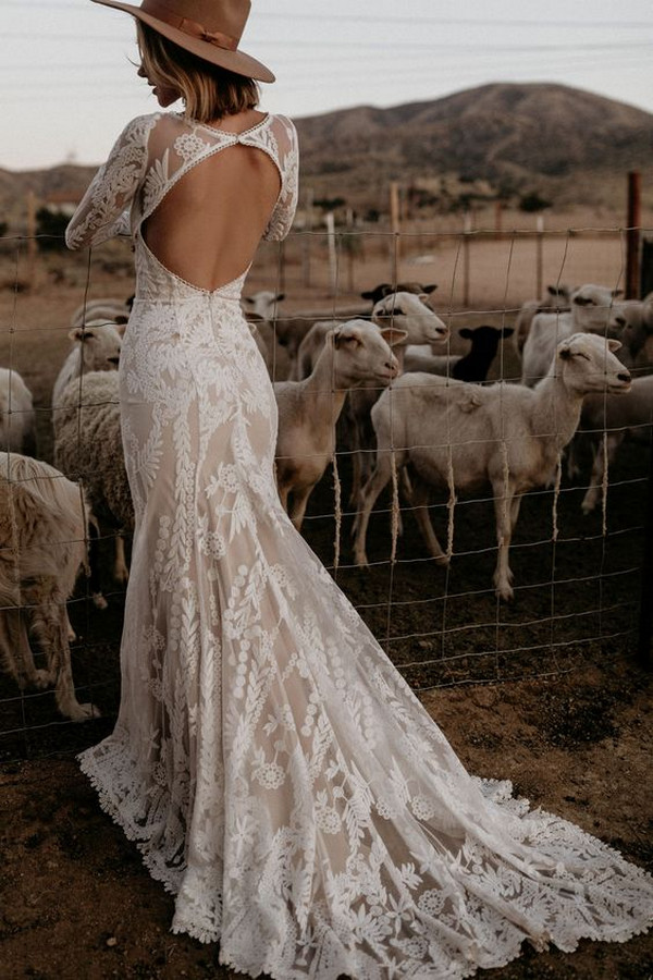 boho chic v back country wedding dress