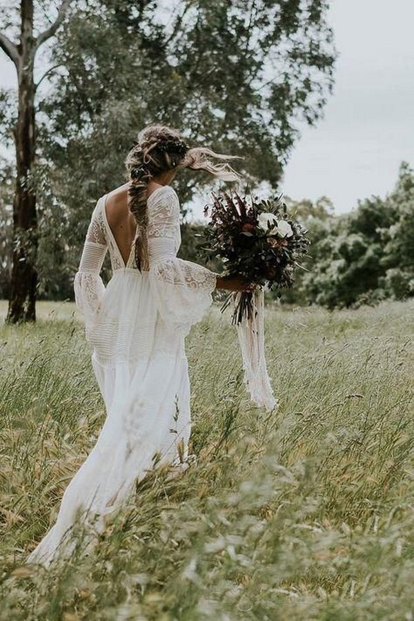 boho lace wedding dress with v back