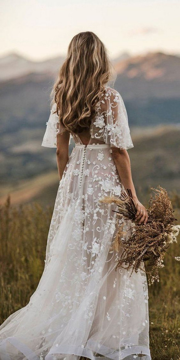 cap sleeves floral lace wedding dress