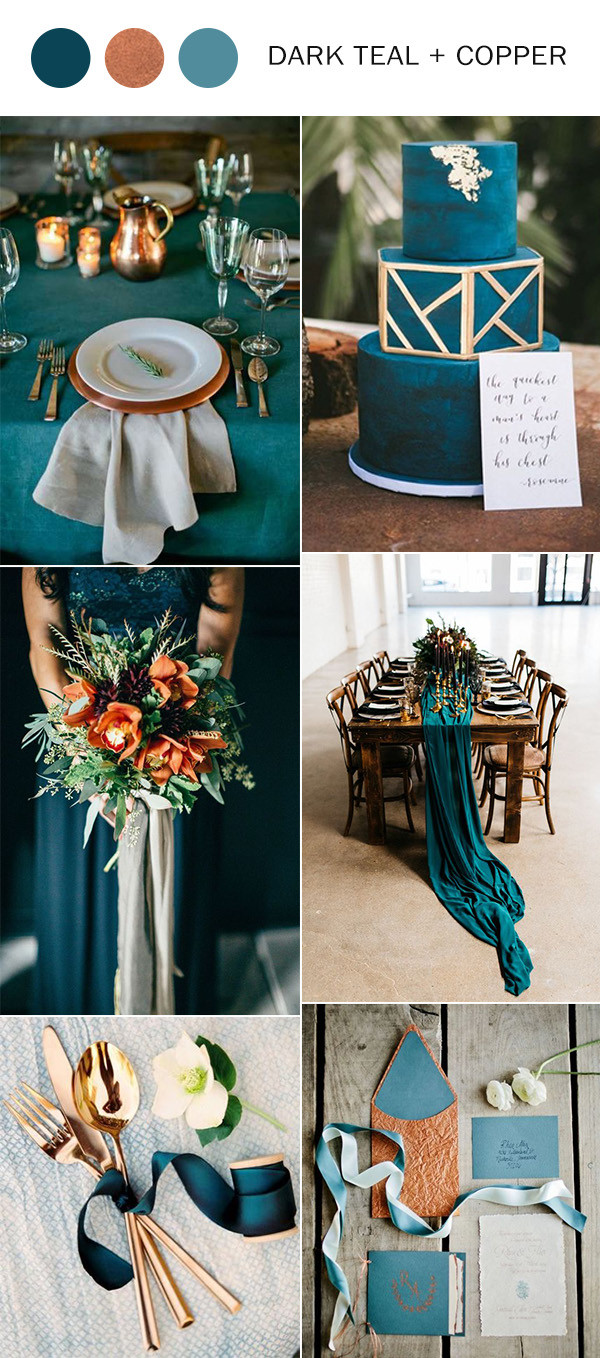 dark teal and copper wedding color ideas for fall