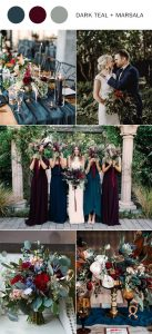 dark teal and marsala fall wedding color ideas