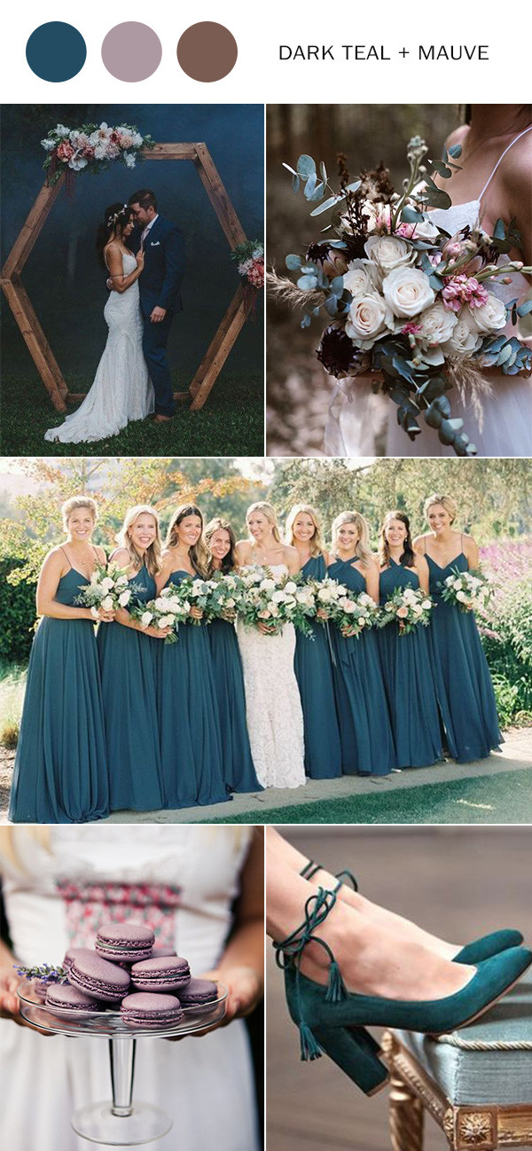 dark teal and mauve wedding color ideas