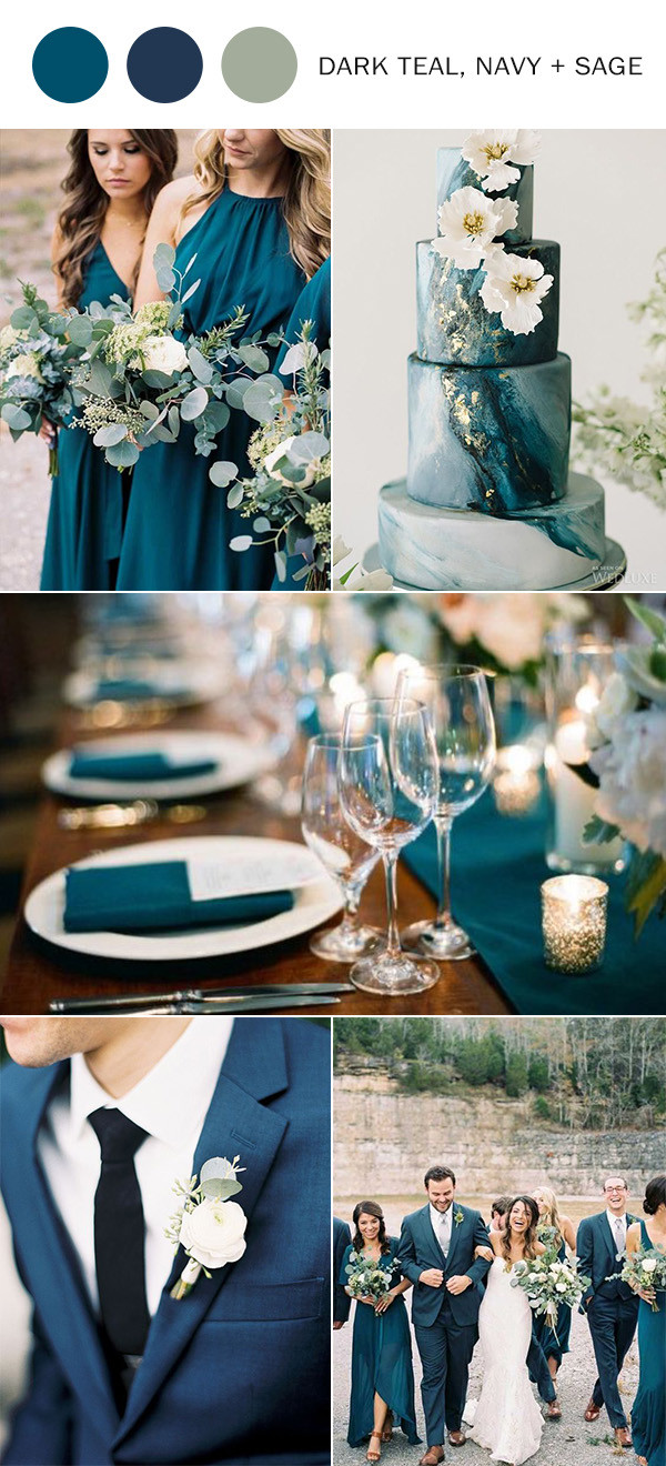 dark teal navy blue and sage green wedding color ideas