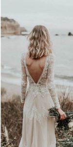 deep v back lace wedding dress