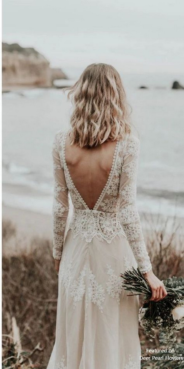 deep v back lace wedding dress