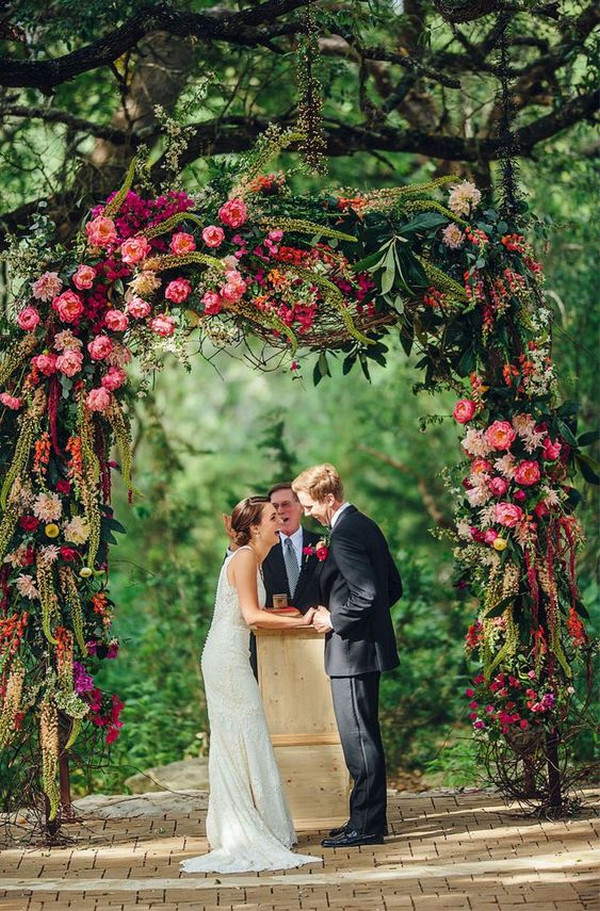 fall wedding arch ideas with floral