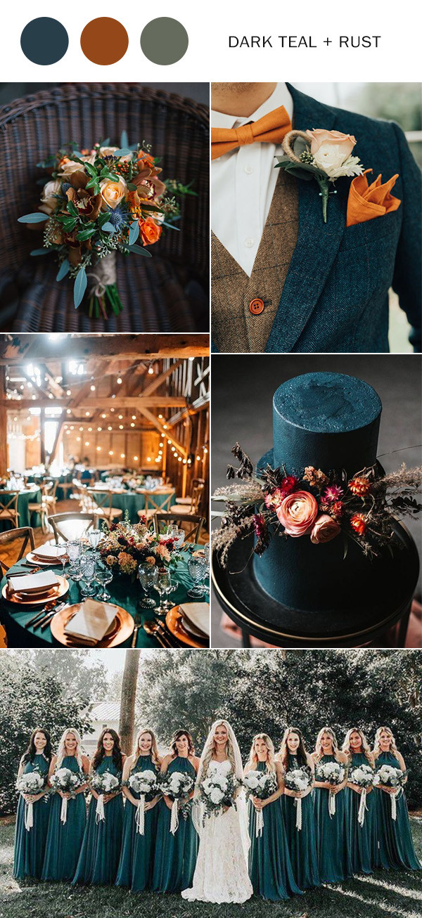 fall wedding color ideas for 2020 dark teal and rust