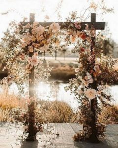 floral fall wedding arch ideas