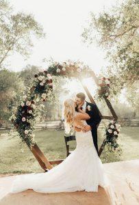 geometric fall wedding arch ideas
