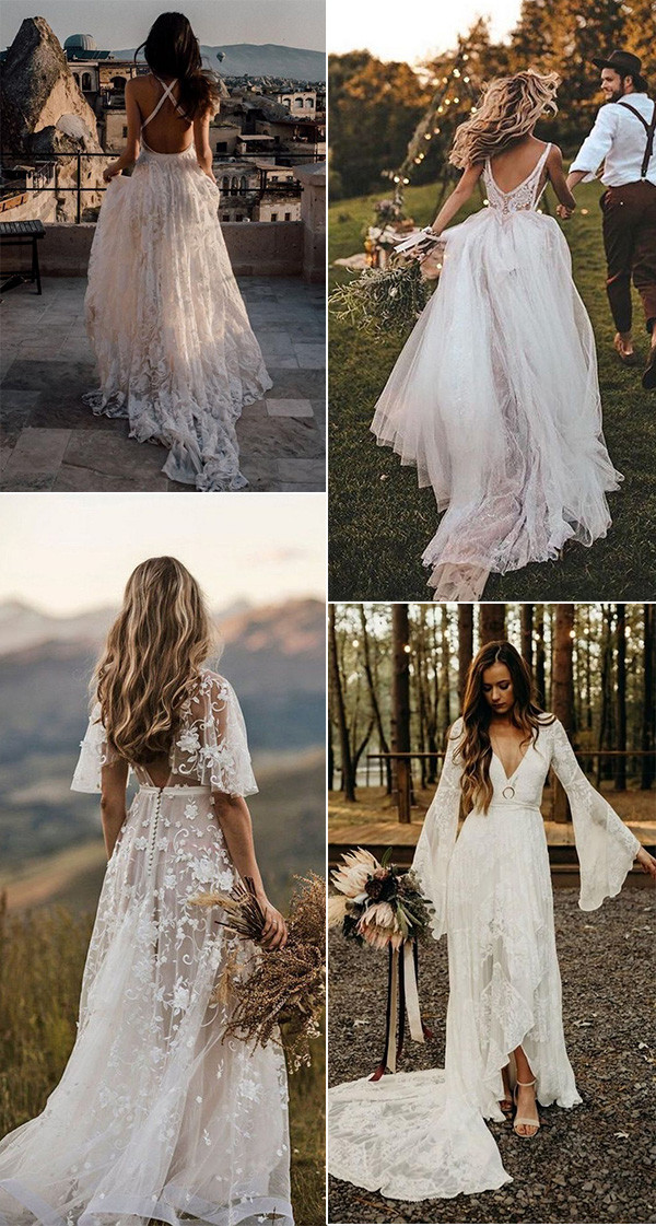 20 Gorgeous Boho Chic Wedding Dresses For 2021 Brides Oh Best Day Ever