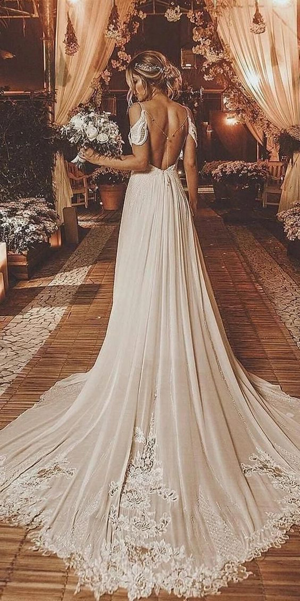 gorgeous open back boho wedding dress